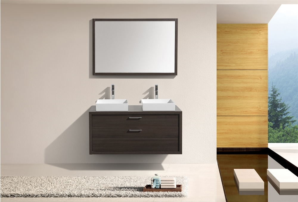 Tucci 48 Gray Oak Double Sink Wall Mount Modern Bathroom Vanity W