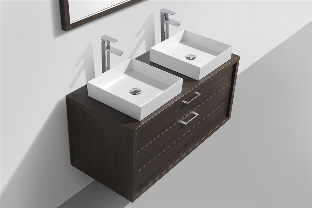 gray double sink vanity. this floating wall-mounted bathroom vanity gray double sink m
