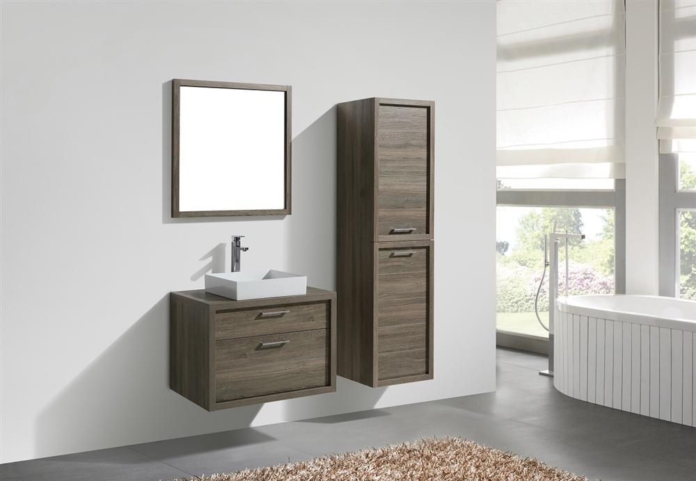 Tucci 30 Havana Oak Wall Mount Modern Bathroom Vanity W Vessel Sink