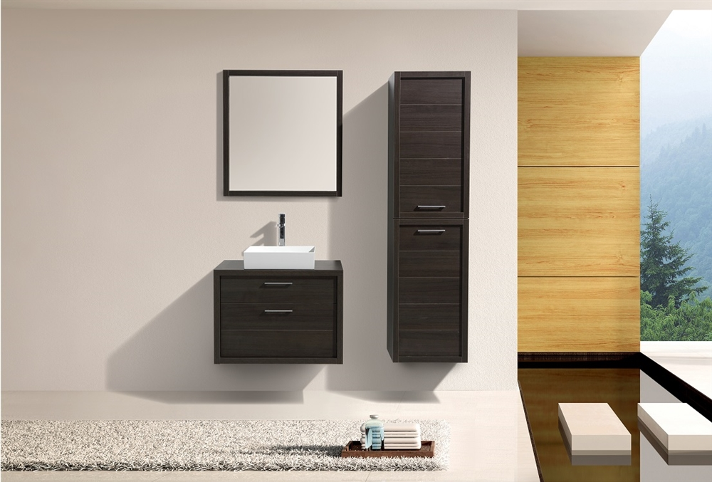 Tucci 30 Gray Oak Wall Mount Modern Bathroom Vanity W Vessel Sink