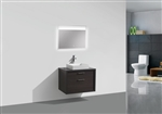 "Tucci 30"" Dark Gray Oak Wood Wall Mount Modern Bathroom Vanity"