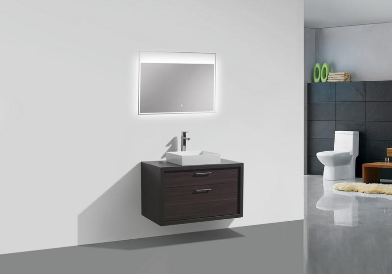 Tucci 36 Dark Gray Oak Wood Wall Mount Modern Bathroom Vanity W