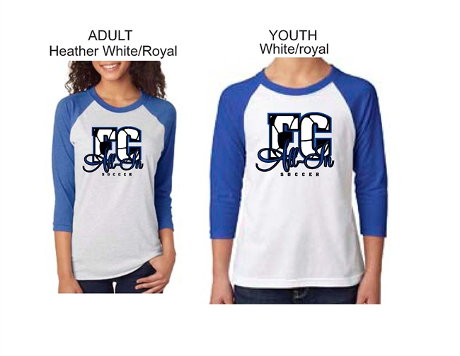 ALL-IN FC Blue and White Raglan Baseball Tee