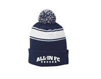 ALL-IN FC Navy and White Striped Pom Pom Beanie