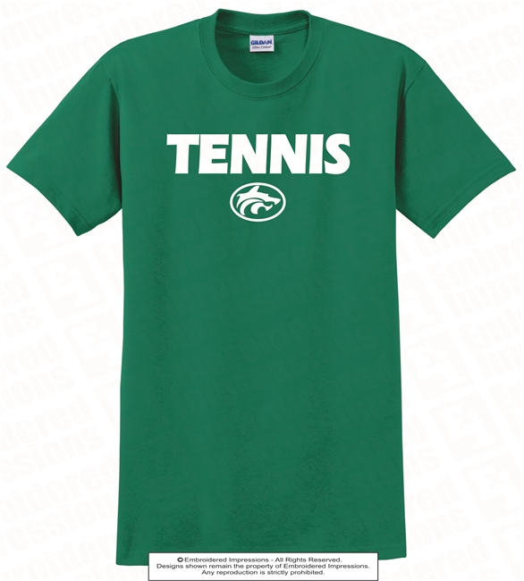Bold Font Tennis and Buford Wolves Logo Tee