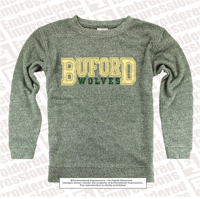 Buford Wolves Distressed Cozy Crew
