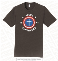 Jesus Is My Superhero Tee in Charcoal Grey
