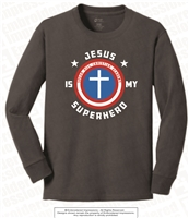 Jesus Is My Superhero Long Sleeves in Charcoal Grey