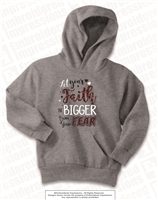 Faith Bigger Than Fear Hoodie in Athletic Heather
