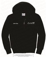 Embroidered Full Zip Hoodie in Black