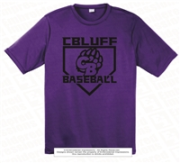 Black CBluff Baseball with CB Logo in Diamond Tee