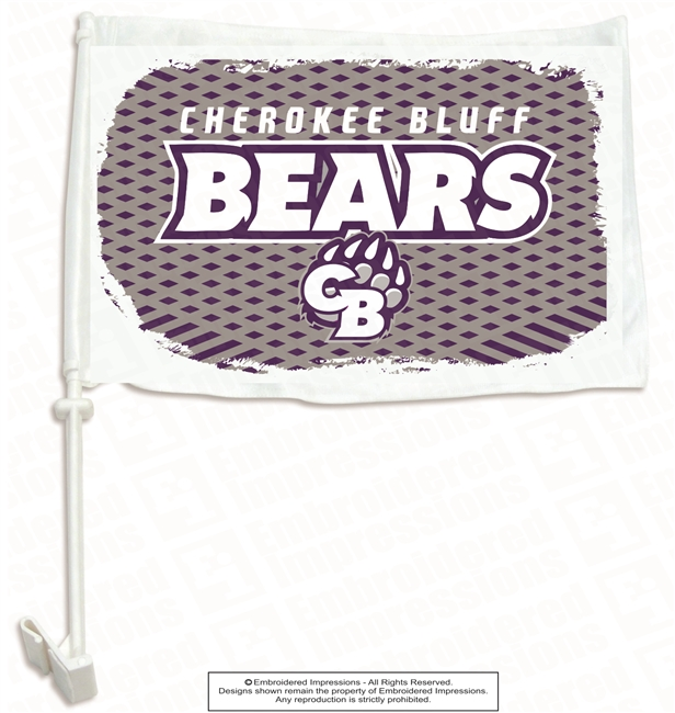 Cherokee Bluff Bears Car Flag with Pole