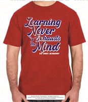 Learning Never Exhausts Mind Tee in Heather Red