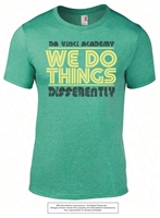 We Do Things Differently Tee in Heather Green