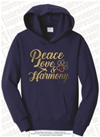 Peace Love & Harmony Fleece Hoodie