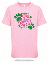 Always Stay Pawsitive Tee in Light Pink