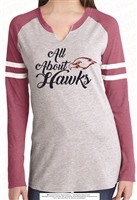All About Hawks Ladies Long Sleeve Tee