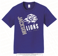 Jackson Lions Ringspun Tee in Royal Blue Adult Size