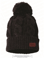Brown Etching NG Pom Pom Black Beanie