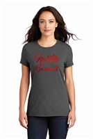 Red Foil Cursive North Baseball Tri Tee Black or Charcoal