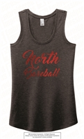 Red Foil Cursive North Baseball Tri Racerback Tank