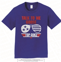 Silver Foiled Talk To Me Goose Tee in Royal