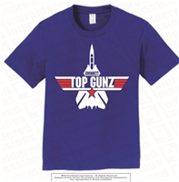 Top Gunz Mascot Cotton Tee in Royal Blue
