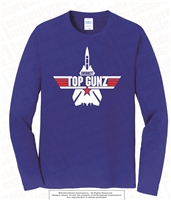 Top Gunz Mascot Cotton Long Sleeves Tee in Royal Blue