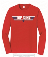 Top Gunz Cotton Long Sleeves Tee in Red