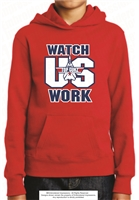 Watch Us Work Hoodie with Embroidery in Red