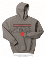 Embroidered EST 2007 PATRICK Hoodie in Sport Grey