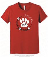 Flower Wreath Paw Cotton Tee in Red