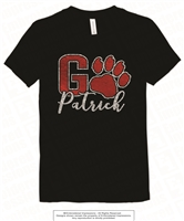 Glittered and Foiled Go Patrick Tee in Black