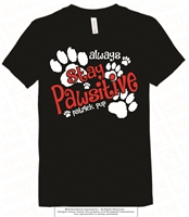 Stay Pawsitive Cotton Tee in Black