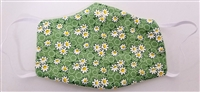 Small Two Ply Cotton Green Daisies Face Covering