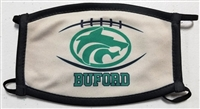 Large Buford Football Green and GoldThree Ply Mask