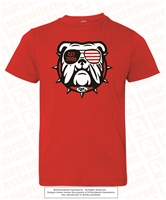 EST 2009 Bulldog with Sunglass Tee in Red
