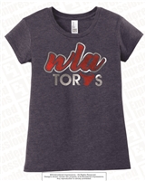 WLA Girls and Ladies Fitted Heathered Navy Tee