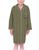 Dignity pajamas LS102-Mens Cotton Long sleeve adaptive open back hospice patient gown sleepwear-Brown/Blk