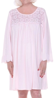 Home Care Line Dignity Pajamas Womens Cotton Long sleeve Luxury Cotton Knit sleepwear/nightgown for women with an open back velcro closures and lace trim