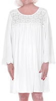 Home Care Line Dignity Pajamas Womens White Cotton Long sleeve Luxury Cotton Knit sleepwear/nightgown for women with an open back, back velcro closures and lace trim