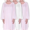 Home Care Line Dignity Pajamas 3-PACK Pink-Womens long sleeve pajamas Luxury Cotton Knit sleepwear/nightgown with an open back and back velcro closure