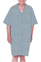 Home Care Line Dignity pajamas Blue Stars Mens Luxury Cotton Short sleeve open back pajamas night shirt with adaptive back velcro closures
