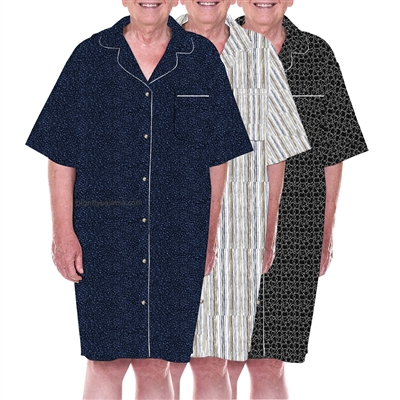 Home Care Line Dignity pajamas Mens 3-PACK MULTI R Luxury Cotton Short sleeve open back pajamas with velcro closures