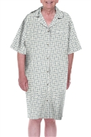 Home Care Line Dignity pajamas Blue/Ivory Mens Luxury Cotton Short sleeve open back pajamas with adaptive back velcro closures hospice patient gown night shirt