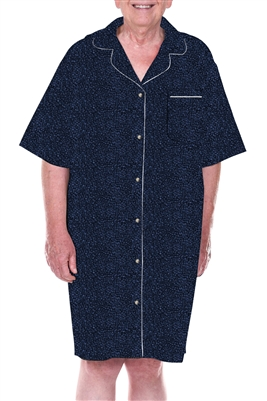 Home Care Line Dignity Pajamas Mens Luxury Blues Cotton Short sleeve open back nightshirt pajamas with adaptive velcro closures patient gown sleepwear