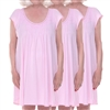 Home Care Line Dignity Pajamas 3-PACK Pink-Womens pajamas Luxury Cotton Knit sleepwear/nightgown with an open back and back velcro closure