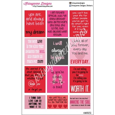 Movie Quote Stickers - The Notebook Inspired