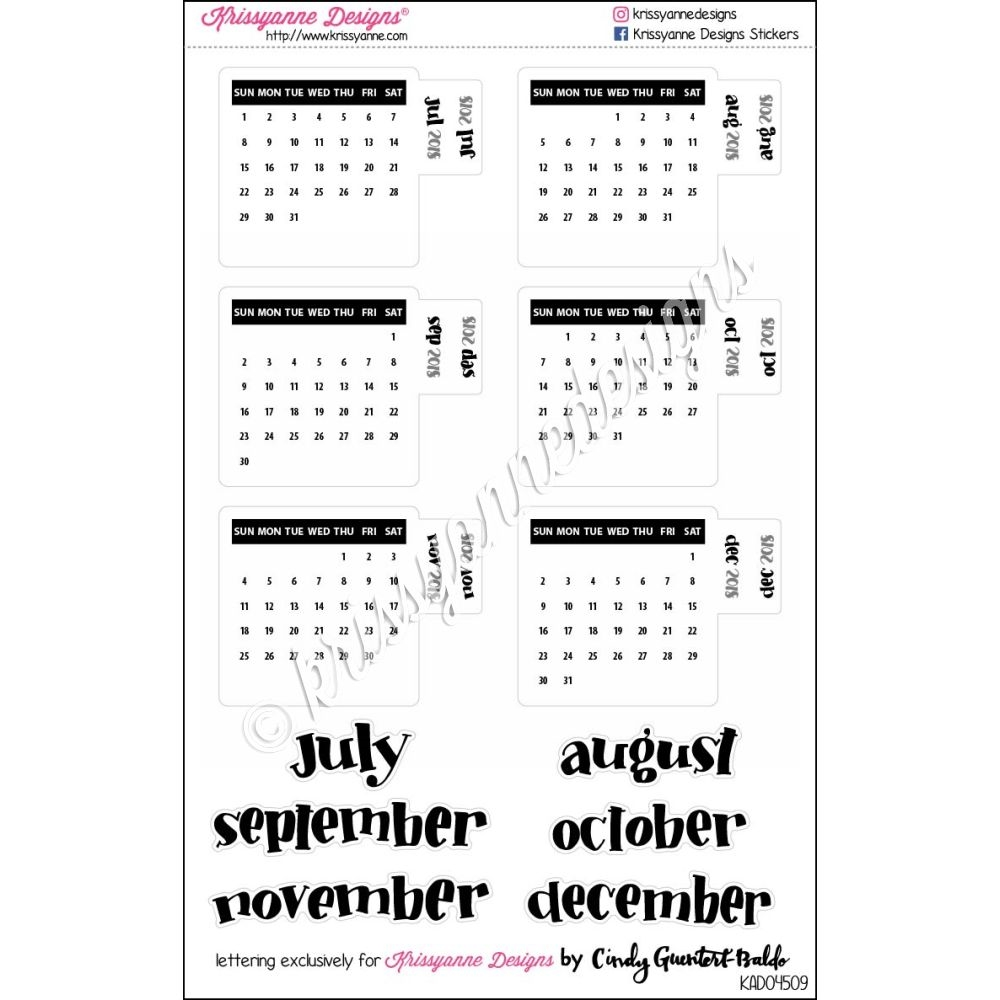 small monthly calendar tabs july december