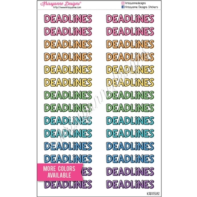 Large DEADLINES Splash - Set of 28